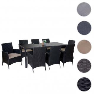 Poly-Rattan-Garnitur Terni, Garten Sitzgruppe Tisch + 8 Sessel, Alu anthrazit, Kissen beige