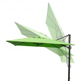 Gastronomie-Ampelschirm HWC-A39, 3x3m (Ø4, 24m) schwenkbar drehbar, Polyester/Alu 31kg ~ grün ohne Ständer - Vorschau 4