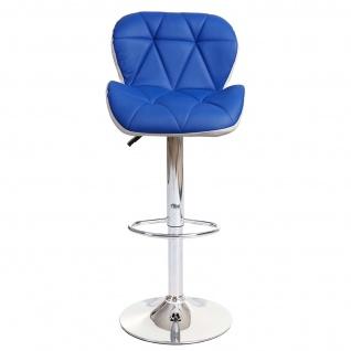 2x Barhocker HWC-A92, Barstuhl Tresenhocker, höhenverstellbar Kunstleder ~ blau - Vorschau 5