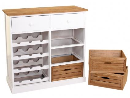 Weinregal HWC-B96, Kommode Flaschenregal für 12 Flaschen mit Schubladen, Landhaus 86x87x37cm - Vorschau 4