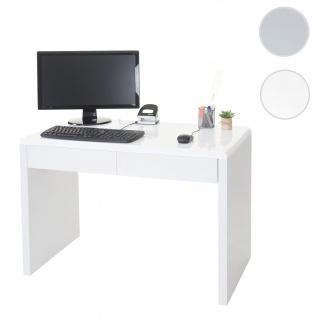 Design Schreibtisch Edmonton, Bürotisch Computertisch, hochglanz 100x50cm, FSC-zertifiziert weiß