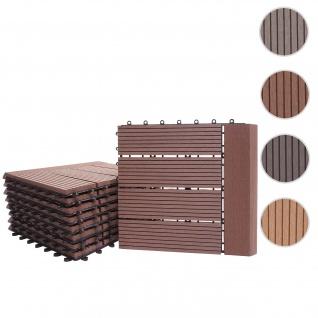 WPC Bodenfliese Rhone + Abschluss, Holzoptik Balkon/Terrasse, 11x je 30x30cm = 1qm Premium ~ coffee linear waagrecht