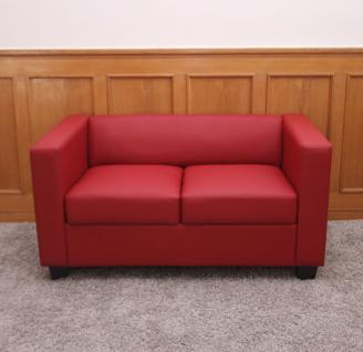 2er Sofa Couch Loungesofa Lille, Leder ~ rot