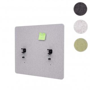 Akustik-Tischtrennwand HWC-G75, Büro-Sichtschutz Schreibtisch Pinnwand, doppelwandig Stoff/Textil ~ 65x60cm grau