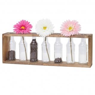 Holz-Vase-Regal HWC-A43, Blumenvasen Dekoflaschen, Glas Tanne Holz massiv Shabby-Look 55x19x8cm