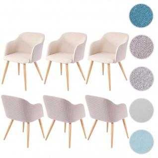 6x Esszimmerstuhl HWC-D71, Stuhl Küchenstuhl, Retro Design, Armlehnen Stoff/Textil ~ creme-beige