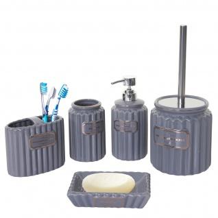 5-teiliges Badset HWC-C96, WC-Garnitur Badezimmerset Badaccessoires, Keramik grau/gold - Vorschau 2