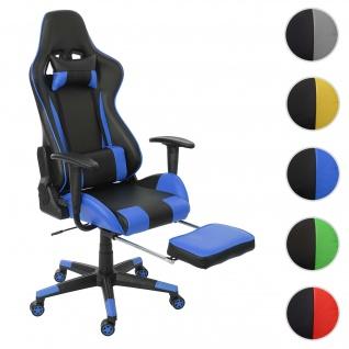 Relax-Bürostuhl HWC-D25 XXL, Schreibtischstuhl Gamingstuhl, 150kg belastbar Fußstütze ~ schwarz/blau
