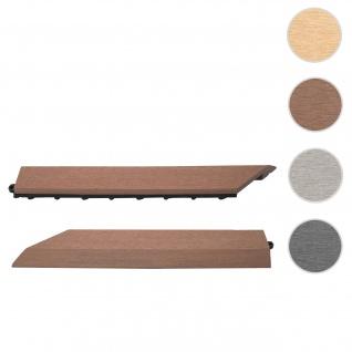 2x Abschlussleiste für WPC Bodenfliese Rhone, Abschlussprofil, Holzoptik Balkon/Terrasse ~ coffee links ohne Haken