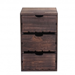 Kommode HWC-C62, Schubladenkommode Holzkiste, Shabby-Look Vintage 3 Schubladen 53x32x26cm ~ braun - Vorschau 3