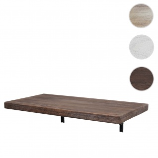 Wandtisch HWC-H48, Wandklapptisch Wandregal Tisch, klappbar Massiv-Holz ~ 100x50cm shabby braun