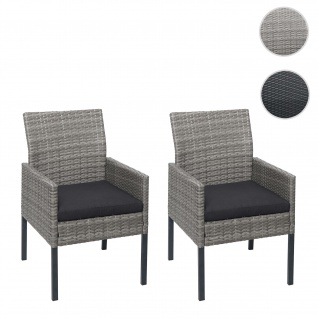 2x Poly-Rattan Sessel HWC-G12, Gartenstuhl Korbsessel ~ grau, Kissen anthrazit, Standard-Version