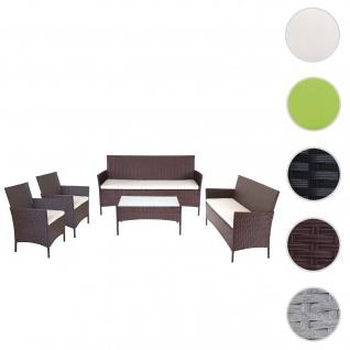 3-2-1-1 Poly-Rattan Garten-Garnitur Halden, Lounge-Set Sitzgruppe Sofa ~ braun-meliert, Kissen creme