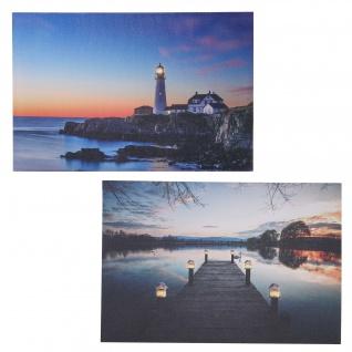 2x LED-Bild, Leinwandbild Leuchtbild Wandbild 40x60cm, Timer ~ Lighthouse