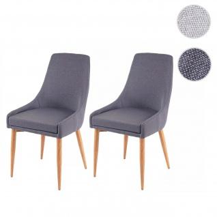 2x Esszimmerstuhl HWC-B44 II, Stuhl Küchenstuhl Retro Design ~ Stoff/Textil dunkelgrau