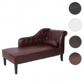 Luxus Recamiere Chesterfield, Relaxliege Loungesofa Chaiselongue, Kunstleder ~ rot-braun