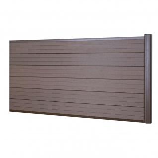 WPC-Sichtschutz Sarthe, Windschutz Zaun, Alu-Pfosten ~ Erweiterungselement niedrig, 1, 85m braun