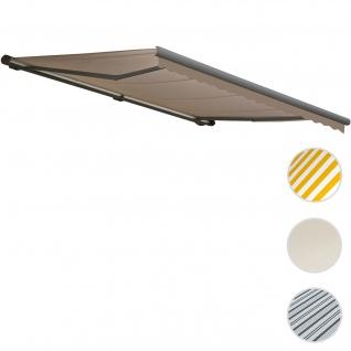 Elektrische Kassetten-Markise T122, Vollkassette Volant 4x3m ~ Polyester Sand, grau
