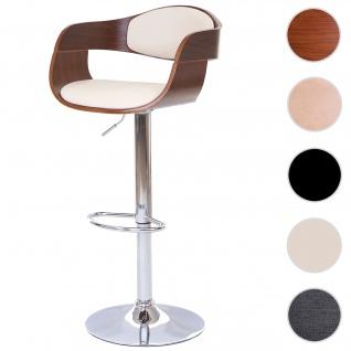 Barhocker HWC-A47, Barstuhl, Holz Bugholz Retro-Design ~ Walnuss-Optik, Kunstleder creme