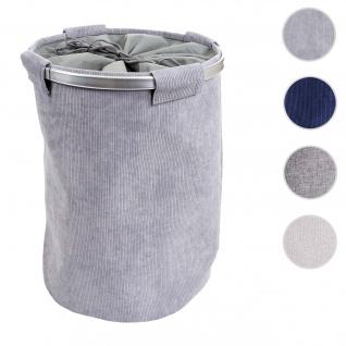 Wäschesammler HWC-C34, Laundry Wäschekorb Wäschebox Wäschesack Wäschebehälter mit Netz, 55x39cm 65l ~ cord grau