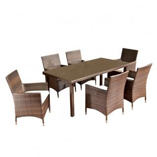 Sitzgruppe, Sitzgarnitur, Gartengarnitur CP2581, Polyrattan braun-meliert