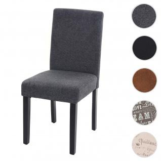 Esszimmerstuhl Littau, Küchenstuhl Stuhl, Stoff/Textil ~ anthrazitgrau, dunkle Beine