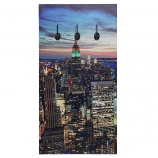 Foto-Wandgarderobe HWC-C75, Garderobe LED-Wandbild, 6 Haken 40x80cm, New York - Vorschau 1