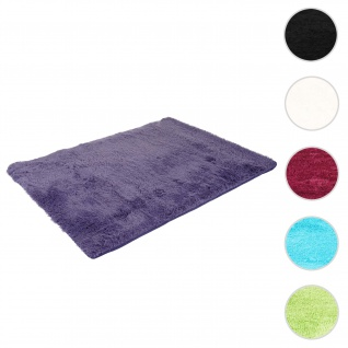 Teppich HWC-F69, Shaggy Läufer Hochflor Langflor, Stoff/Textil flauschig weich 160x120cm ~ dunkellila