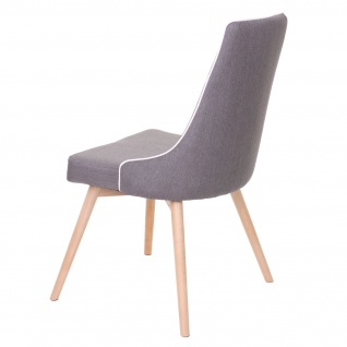 2x Esszimmerstuhl HWC-B44, Stuhl Küchenstuhl, Retro 50er Jahre Design Stoff/Textil dunkelgrau - Vorschau 5