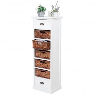 Kommode Nancy, Schubladenschrank Regal, 2 Schubladen 5 Korbschubladen weiß 120x40x30cm