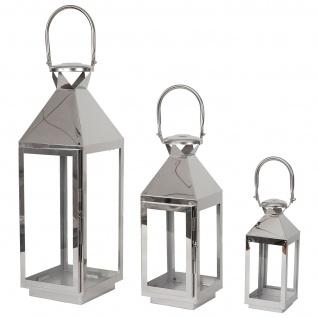 3er Set Laterne HWC-B36, Windlicht Gartenlaterne, Metall Höhe 57/41/26cm - Vorschau 3