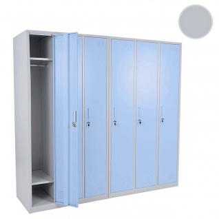 Schließfach Boston T829, Spind Wertfachschrank Schließfachschrank, Metall 6 Fächer blau