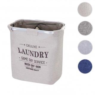 Wäschesammler HWC-C34, Laundry Wäschebox Wäschekorb Wäschebehälter mit Netz, 2 Fächer 56x49x30cm 82l ~ beige