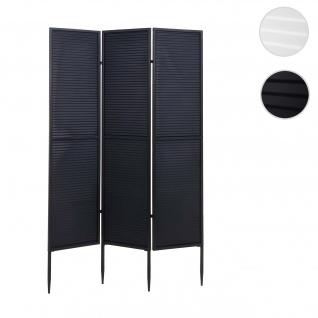 Garten-Paravent HWC-J14, Raumteiler Trennwand Sichtschutz, Metall 200x121cm ~ schwarz