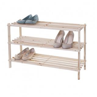 Schuhregal HWC-B52 Schuhablage Schuhständer Holzregal Standregal ~ 3 Böden