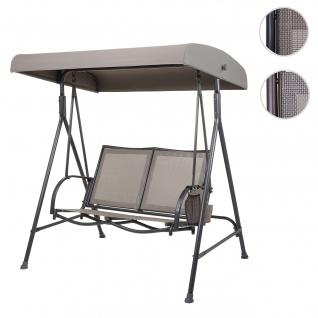 Hollywoodschaukel HWC-F89, Gartenschaukel Bank, 2-Sitzer verstellbares Dach Taschen 160cm Metall ~ anthrazit, beige