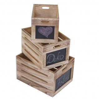 3er Set Holzkiste HWC-E11, Aufbewahrungsbox mit Tafel, Shabby-Look ~ naturbraun - Vorschau 3
