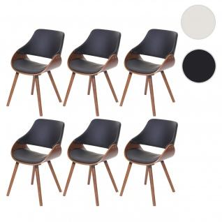 6x Esszimmerstuhl HWC-D23, Lehnstuhl Stuhl, Retro-Design Kunstleder schwarz