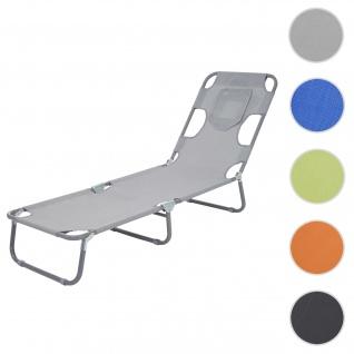 Sonnenliege HWC-B11, Relaxliege Gartenliege, Bauchliegefunktion Stoff/Textil klappbar ~ grau