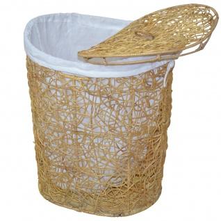 Wäschekorb H158, Wäschesammler Wäschebox Wäschetonne, 2 Stoffeinsätze, Rattan, 62x49x40cm ~ beige