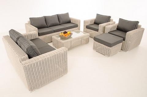 3-2-1-1 Sofa-Garnitur CP050 Lounge-Set Gartengarnitur Poly-Rattan ~ Kissen eisengrau, perlweiß