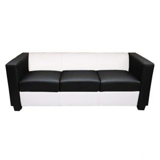 3er Sofa Couch Loungesofa Lille, Leder/Kunstleder schwarz/weiß