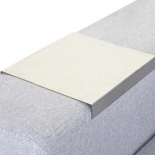 Armlehnen-Ablage HWC-C67, Sofa-Butler Tablett, Edelstahl 25cm Länge ~ 23cm, 1 Stück