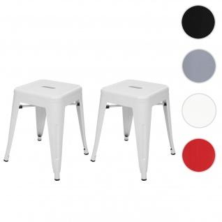 2x Hocker HWC-A73, Metallhocker Sitzhocker, Metall Industriedesign stapelbar ~ weiß