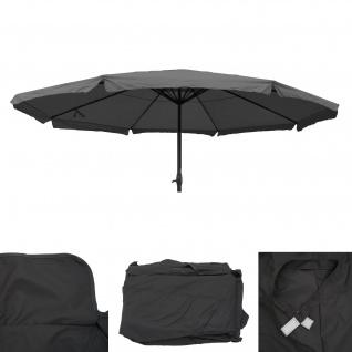 Bezug für Sonnenschirm Meran Pro, Gastronomie Marktschirm mit Volant Ø 5m, Polyester ~ anthrazit