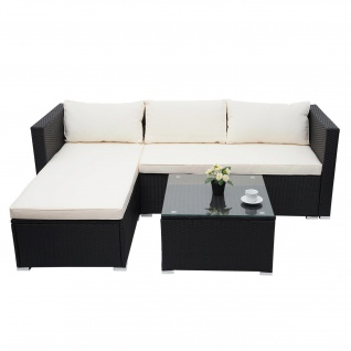 Poly-Rattan Garnitur HWC-F57, Balkon-/Garten-/Lounge-Set Sofa Sitzgruppe ~ schwarz, Kissen creme ohne Deko-Kissen - Vorschau 2