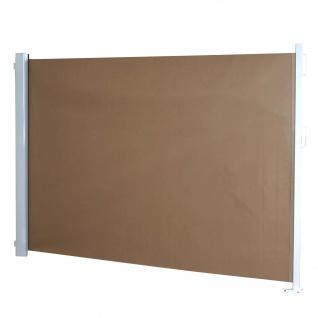 Seitenmarkise T140, Sichtschutz, Alu ~ 1, 6x3m, hellbraun
