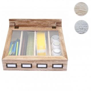Aufbewahrungsbox HWC-C25, Teebox Schmuckkästchen Kiste, Paulownia 17x37x33cm ~ naturbraun