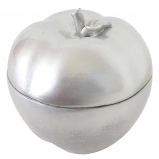 Deko Figur Apfel 21cm, Polyresin Schmuckdose, silber