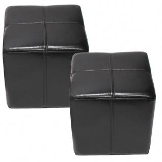 2x Sitzwürfel Hocker Sitzhocker Onex, Leder + Kunstleder, 36x36x36cm ~ schwarz